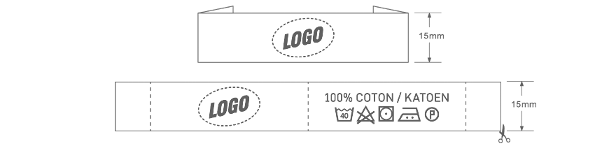 Clothing label with your own custom logo 15mm